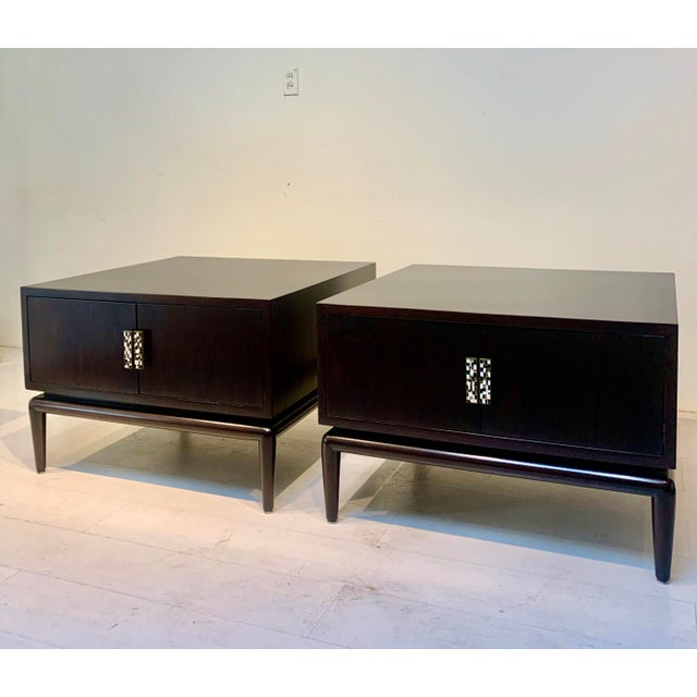 Brown 1960s Monteverdi-Young Dark Mahogany Inlaid End Tables - a Pair For Sale - Image 8 of 8