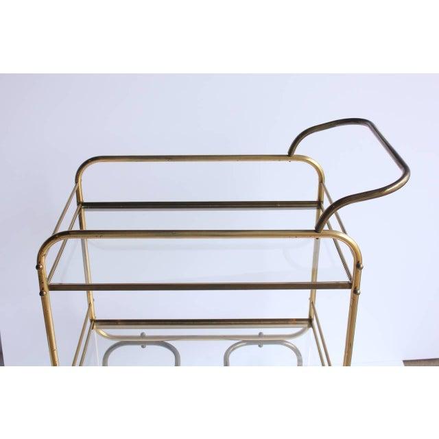 Hollywood Regency Vintage Mid Century Brass Bar Cart For Sale - Image 3 of 5