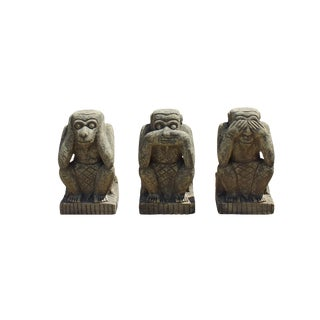 Chinese Oriental Three Monkey Stone Figures Set Do No Evil