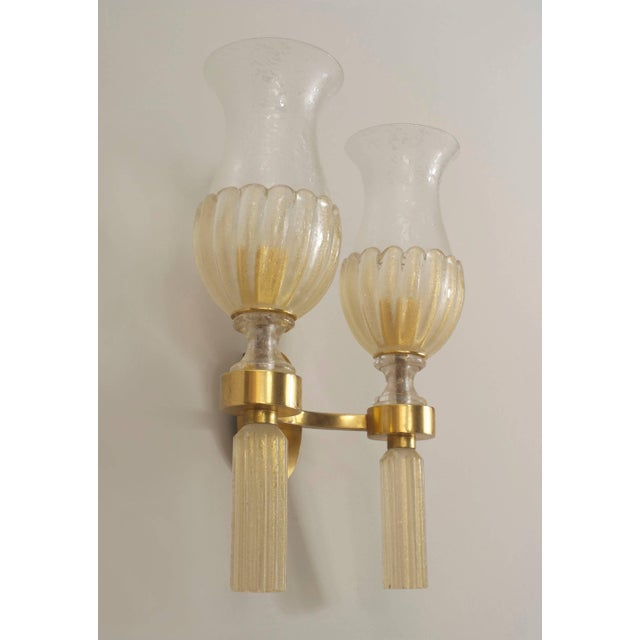Art Deco 1940s Italian Venetian Murano Gold Dusted Glass Wall Sconces - a Pair For Sale - Image 3 of 5