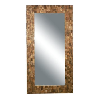 Pieced Wood Block Framed Full Length Mirror For Sale