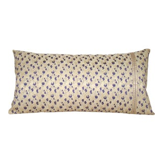 Antique Floral Japanese Silk Obi Bolster Pillow Cover For Sale