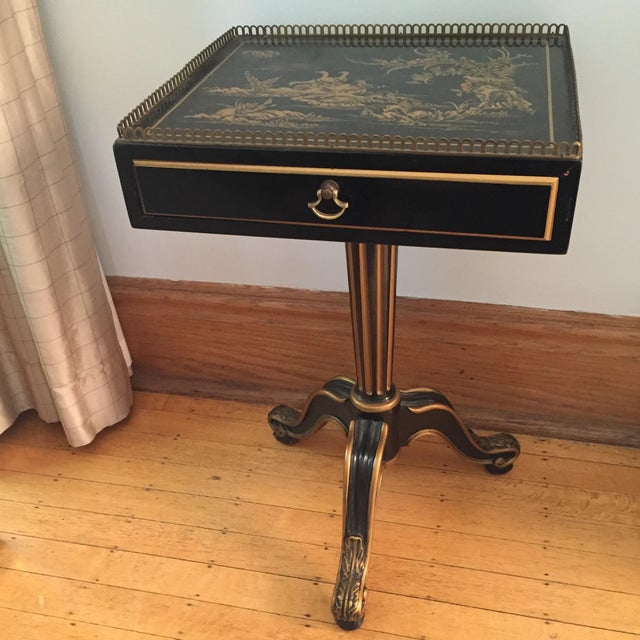Black Vintage Chinoiserie Side Table - Image 2 of 5
