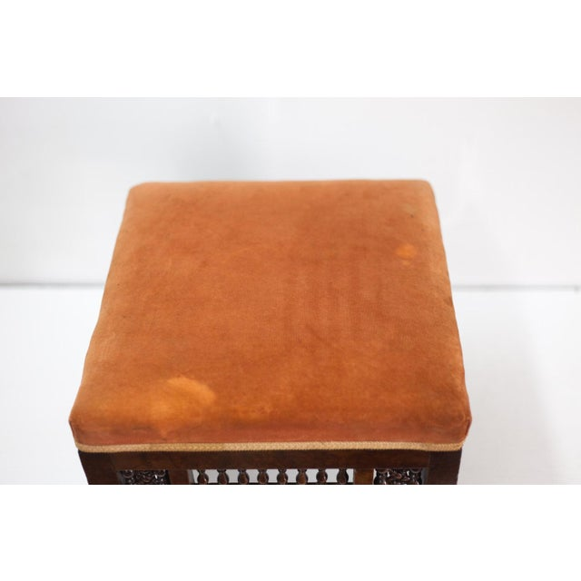 Mediterranean Stool With Deep Salmon Suede Seat - Image 5 of 6