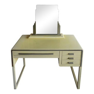 Art Deco Norman Bel Geddes Attributed Soft Yellow Green Vanity For Sale