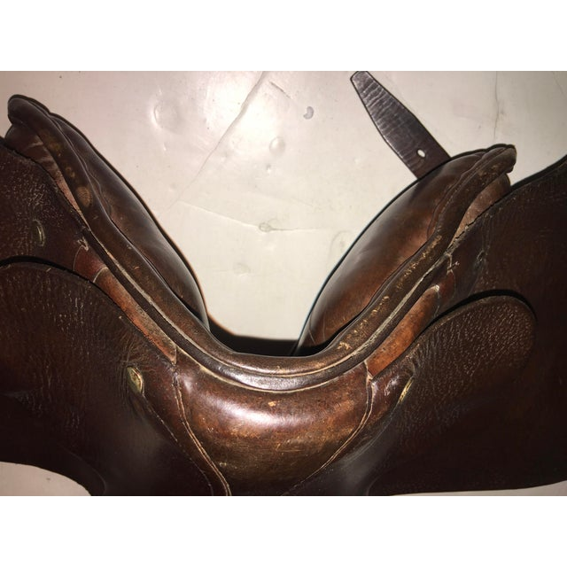 Vintage Equestrian English Leather Lady Saddle For Sale - Image 10 of 13