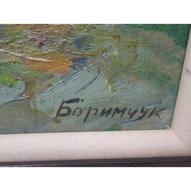 Modern Framed Impressionist Style Oil Painting of Spring Landscape With Forest and Riverbank For Sale - Image 3 of 6
