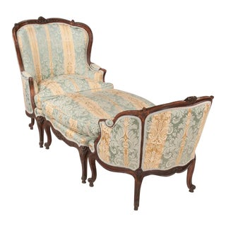 Louis XV Style 3 Piece Oak Chaise Lounge For Sale