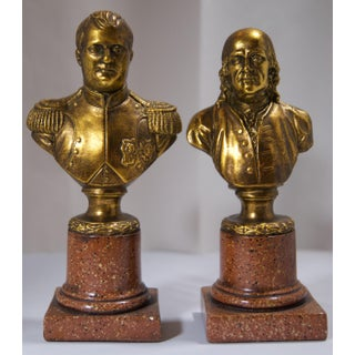 Vintage Benjamin Franklin & Lafayette Resin Bookends - a Pair Preview