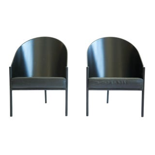 1980s Vintage Phillipe Starck Three Leg Lounge Chairs- A Pair For Sale