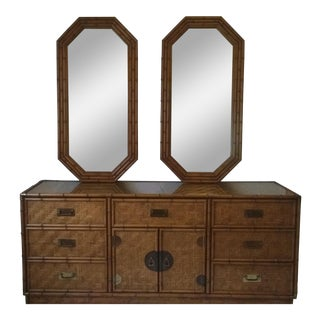 1960s Campaign Dixie Furniture Co Faux Bamboo & Woven Wicker Dresser and Mirror Set - 3 Pieces For Sale