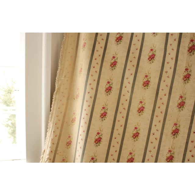 This charming curtain is made of a vintage French floral and stripe fabric! This textile dates to c1930. This curtains...
