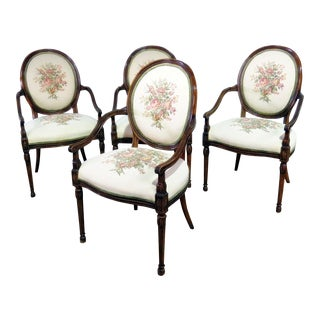 Adams Style Tapestry Upholstered Arm Chairs - Set of 4 For Sale