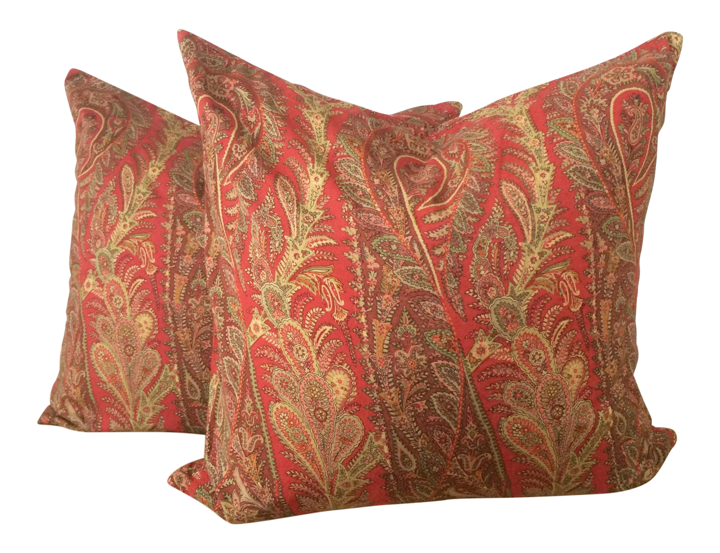 Pottery Barn Red Paisley Pattern Pillows  A Pair