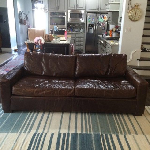 Restoration Hardware Leather Queen Sleeper Sofa - Image 2 of 11