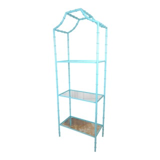 Faux Bamboo Turquoise Etagere Shelf For Sale