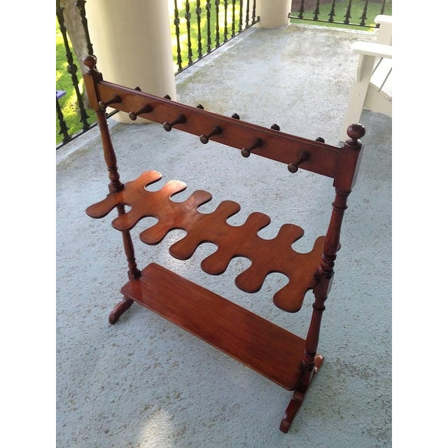 Mid-Century Modern English Mahogany Hall Boot Rack For Sale - Image 3 of 4