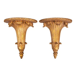Large Vintage Italian Style Gilt Wall Brackets - a Pair For Sale