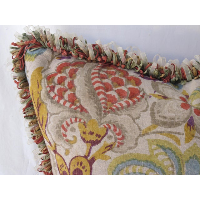 a pillow made from a circa 1920's English block printed linen, backed with a coordinating cotton velvet, a down insert is...