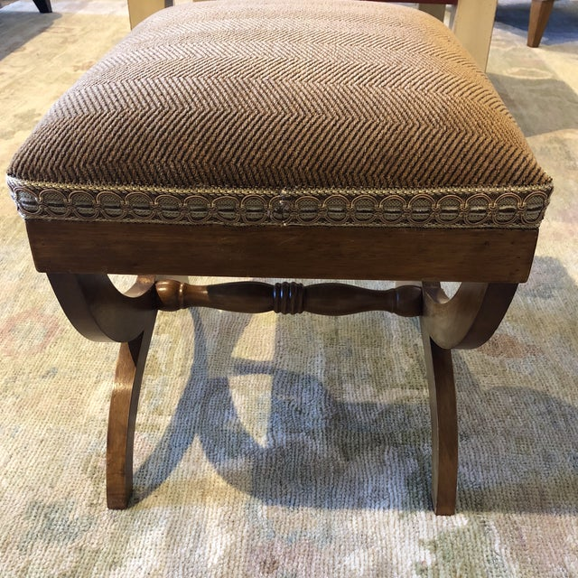 Italian Upholstered Walnut Bench For Sale In Dallas - Image 6 of 11