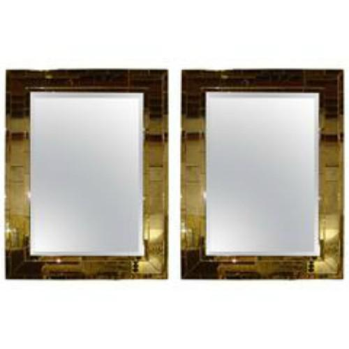 Art Deco Mid- Century Style Brick Framed Distressed Wall Mirrors - A Pair For Sale In New York - Image 6 of 6