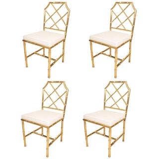 Brass Faux Bamboo Chairs - Set of 6 For Sale