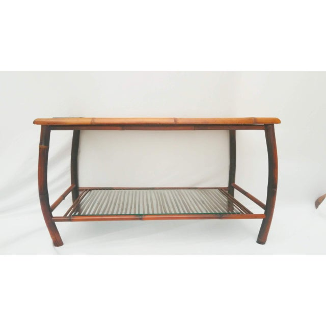 Hollywood Regency Bamboo and Rattan Coffee Table For Sale - Image 4 of 8