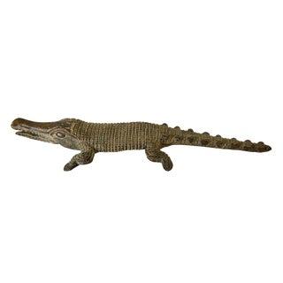 "Bronze AfricanTribal/ Ashanti Akan of a Crocodile I Coast 1.75"" H by 10.75"" For Sale"
