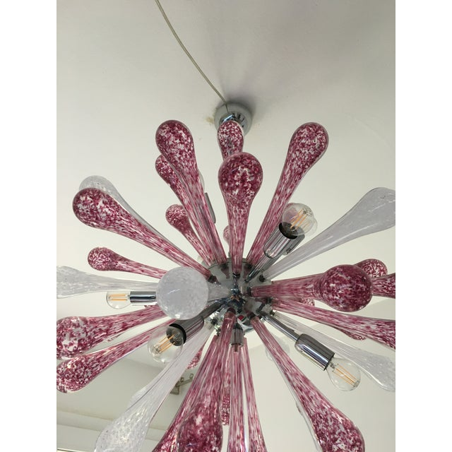 Murano Red and White Murano Glass Sputnik Chandelier For Sale - Image 4 of 12