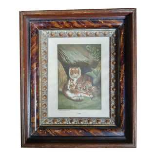 Late 19th Century Antique Louis Prang Tigress + Cubs Victorian Framed Aquatint Print For Sale