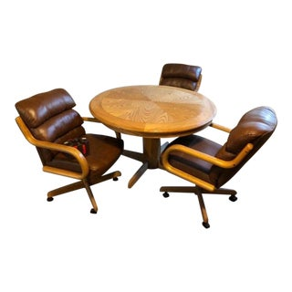 Reversible Dining/Poker Table W/ 3 Leather/Wood Chairs For Sale