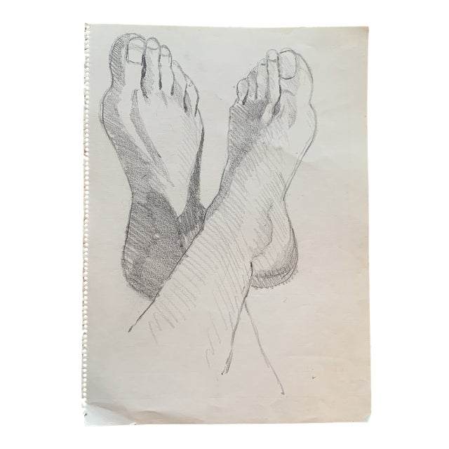 1970s Graphite Artists Study of Feet Classical Style For Sale