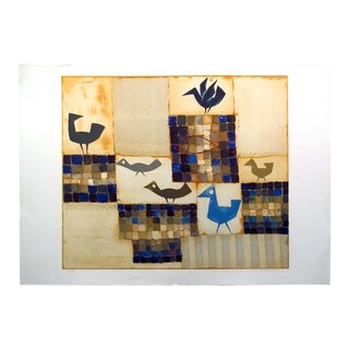 "1980s Jean Oosterlynck ""Pattern With Fish"" Original Signed Unframed Lithograph For Sale"
