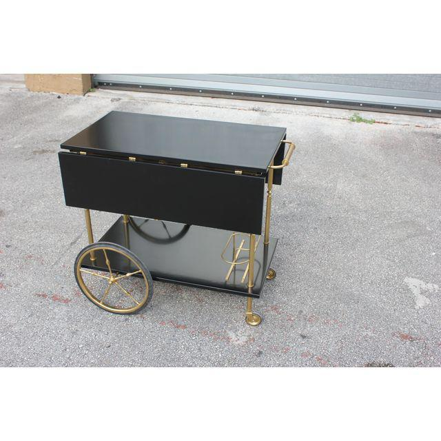 Beautiful Maison Jansen Ebonized Drop-Leaf Bar Cart Circa 1940s For Sale - Image 10 of 13