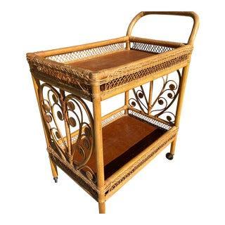 Hollywood Regency Rattan Bar Cart For Sale