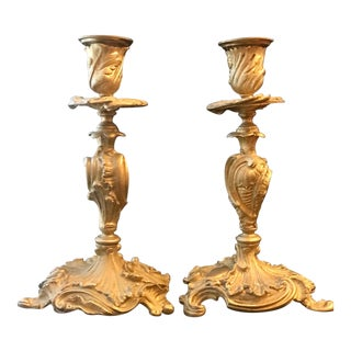 Antique Late 19th Century Rococo Style Gilt Bronze Candlesticks - a Pair For Sale