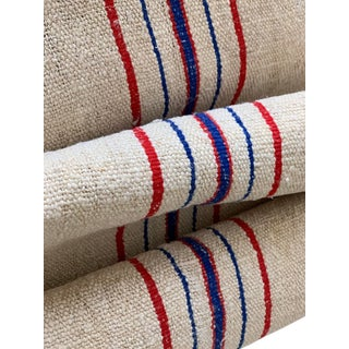 Antique Blue And Red Striped Hemp Linen Grain Sack Fabric - 3.3 Yards For Sale