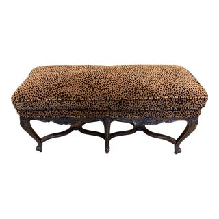 Mid-Century Leopard Print Bench For Sale