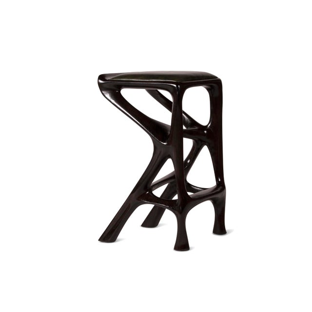 Contemporary Amorph Chimera Bar Stool, Stained Ebony For Sale - Image 3 of 8