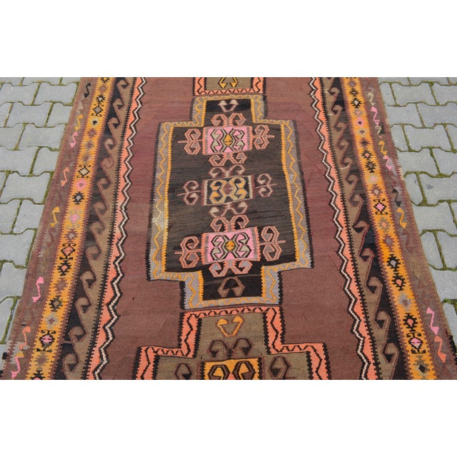 Turkish Hand Woven Kilim Rug - 5′1″ X 12′6″ - Image 7 of 10