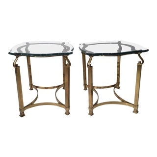 1970s Mid-Century Modern Italian Brass and Glass Side Tables - a Pair For Sale
