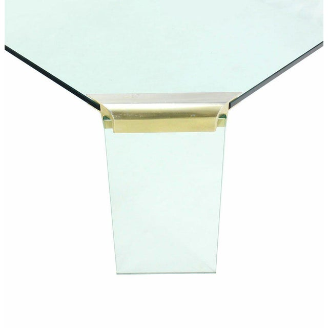 Large Square Glass Top Legs Brass Bracket Base Coffee Table For Sale - Image 4 of 5