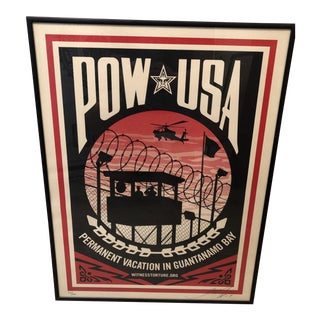 Shepard Fairey Signed Numbered Framed Pow Usa Lithograph For Sale