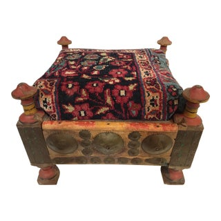 Antique Afghan Stool /19th Tribal Persian Bakhtiari Top For Sale