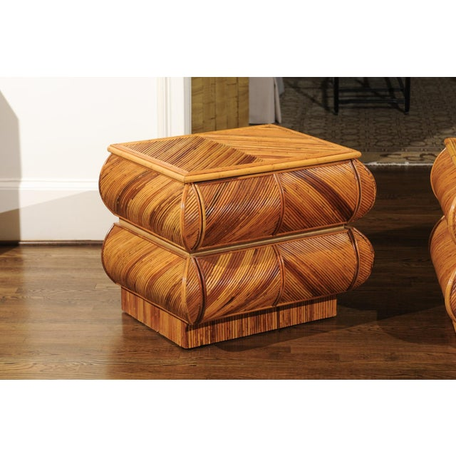 1980s Magnificent Restored Pair of Bullnose Small Chests in Bamboo, Circa 1980 For Sale - Image 5 of 13