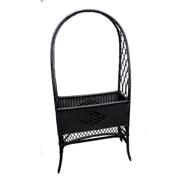 Art Deco Black Lacquered Wicker Plant Stand Arched Trellis Fernery Box For Sale - Image 3 of 11