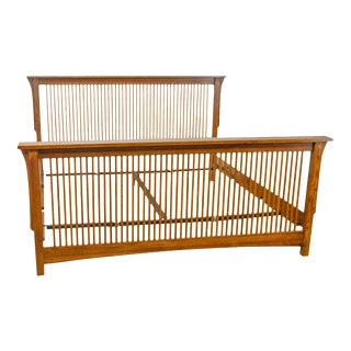 Mission Style King Size Oak Spindle Bed