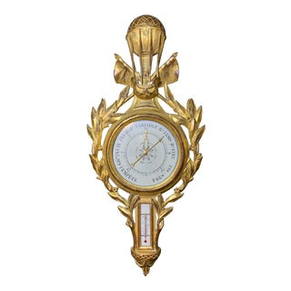 Early 20th Century French Louis XVI Style Giltwood Barometer For Sale