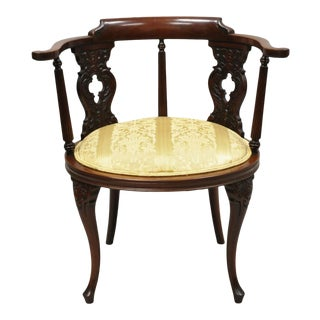 Antique Victorian French Style Mahogany Vanity Accent Side Chair With Round Seat For Sale