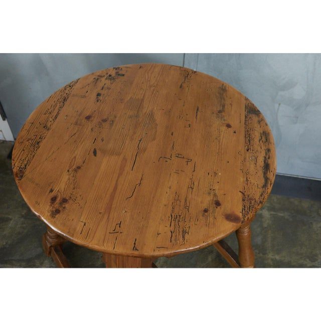 Brass English Round Pine Table For Sale - Image 7 of 10